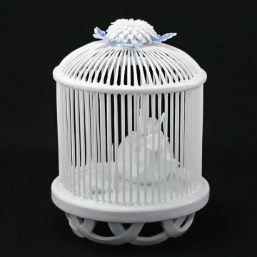 """White porcelain work """"Chrysanthemum decoration insect cage"""""""