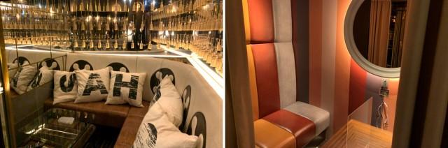 (写真左)VIPルームは内装が豪華でクッション付き。なんとテレビも見られます。