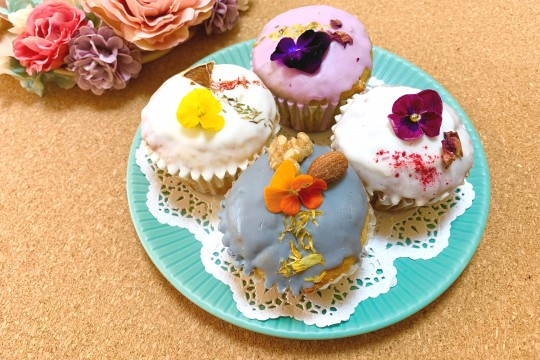 "4 types of ""flower muffins"""