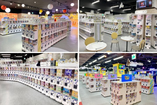 There are lots of capsule toy machines, whether you look to the right or to the left.