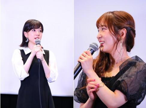 氷川紗夜役の工藤晴香さん(左)、宇田川あこ役の櫻川めぐさん(右)
