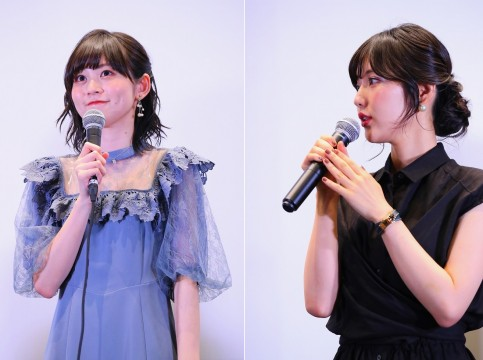 今井リサ役の中島由貴さん(左)、白金燐子役の志崎樺音さん(右)