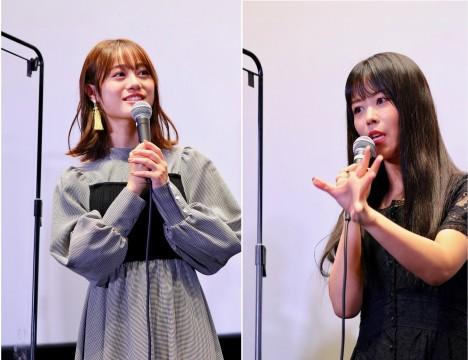 弦巻こころ役の伊藤美来さん(左)、湊友希那役の相羽あいなさん(右)