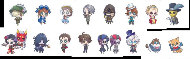 All 16 chibi character illustrations